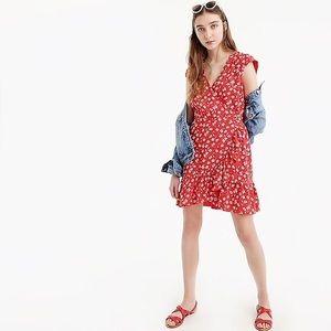 Jcrew red floral faux wrap dress
